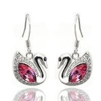 Earrings made with Swarovski Elements - Swan Shape