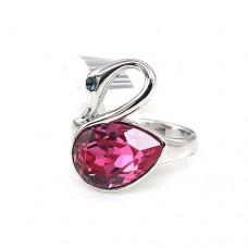Ring made with Crystallized Swarovski Elements - Swan Shape - Pink